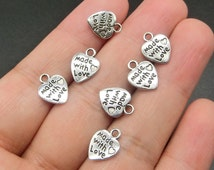 50pcs Made with Love Heart Charms Valentine Word Charm Beads Antique Tibetan Silver Jewelry Findings Accessories Fittings 12*10mm TS124