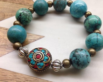 Boho beaded bracelet with Tibetan bead detail