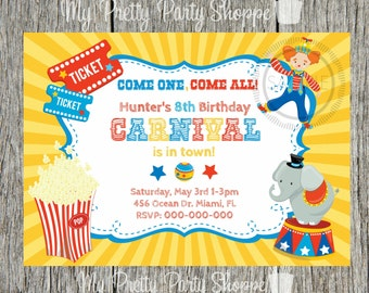 Carnival / Circus / Clown / Popcorn / Elephant Birthday Party Invitation