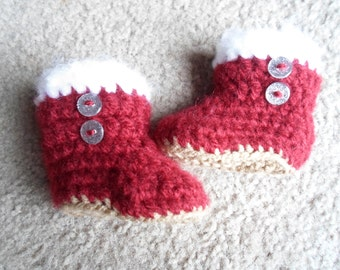 Adorable Very Soft Burgundy Fluffy Boots w/ Little Glitter Buttons. Sizes: Newborn, 0-3 Months, or 3-6 Months
