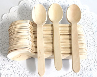 "Heavy Weight 25 Disposable Wooden Spoons birthday party  weddings baby shower ""Same Day Shipping"""