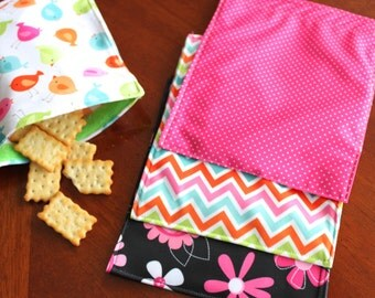 4 Girls Reusable Sandwich baggie / snack baggie / cold lunch reusable bag / cold lunch baggie / sack lunch bag / flower bag / chevron bag