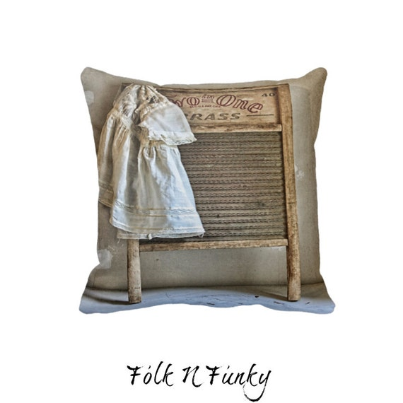 Primitive Throw Pillows For Couch : Items similar to Country Throw Pillow Decorative Throw Pillows Laundry Day Primitive Grunge on Etsy