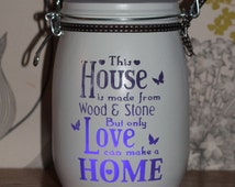 Glass candle Jar, memory jar,  House is made from wood and stone, gift for her, mum, wife, unique gift, night light, spring. mason jar