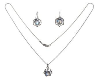 fine blue moonstones necklace & earrings in sterling