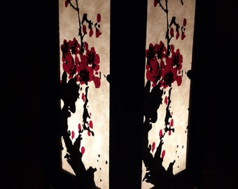 "Asian Oriental Japanese Sakura Cherry Blossom Art Bedside Table Lamp 11"" height"