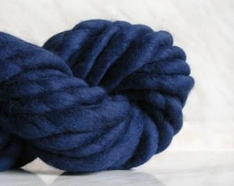 Super Bulky yarn, mega chunky yarn ATLAS Navy blue, 3.5 oz mega thick yarn, hand spun merino wool, blanket yarn