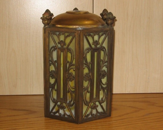 Slag Glass Light Fixture Shade Gothic Victorian Lighting