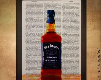 Whiskey Bottle Dictionary Art Print Drink Alcohol Bar Bourbon Scotch Bar Art Wall Home Decor Gift Ideas da837