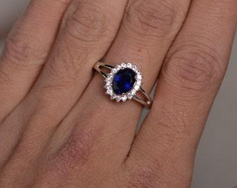 Lab Sapphire Ring Silver Dark Blue Gemstone Ring Promise Ring For Her September Birthstone Ring