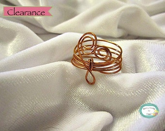 CLEARANCE Copper Wire Spiral Heart Ring Handmade
