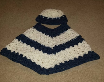 Cute girl's poncho and beanie set! Choose any color