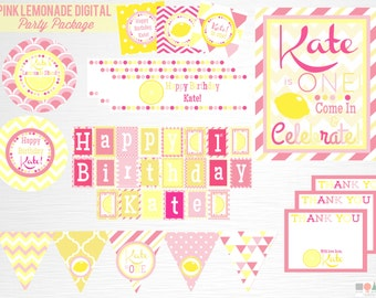 Pink Lemonade Birthday Party Printable Package YOU Print