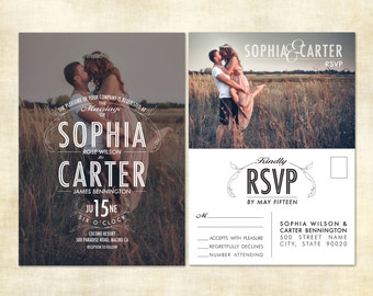 Printed Vintage Photo Wedding Invitations, RSVP Post Cards and Envelopes