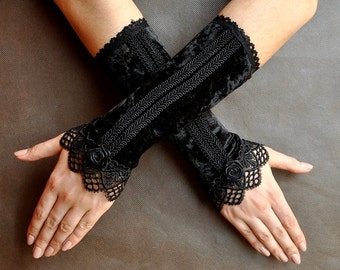 Elegant GOTHIC Lolita Burlesque Glamour long GLOVES black velvet and guipure, goth fingerless mittens