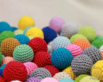 Crochet beads 25 PCS, 18mm Wooden crochet beads Colorful crochet  beads, handmade craft supplies, bead mix