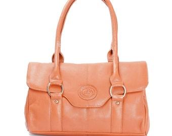 Women's Handmade Tan Leather Top Handle Shoulder Bag