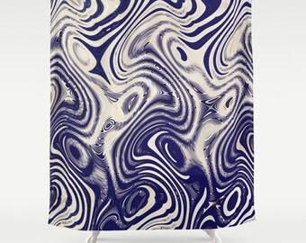 Blue & Cream Shower Curtain-Contemporary Decor-Art Shower Curtain-71x74-Funky Bathroom-Abstract Bath Decor-Artsy Bathroom Decor-Gift Ideas