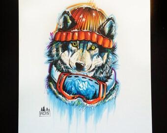 Snowboarding Husky