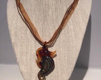 Seahorse Necklace - Glass Seahorse Pendant- Ribbon Cord - You pick color