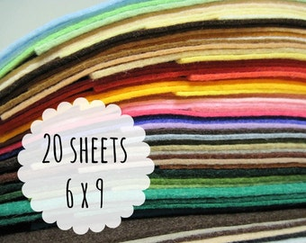 Wool Blend Felt Sheets, 6 x 9 inches - Felt Fabric - Felt for Crafting - Choose 20