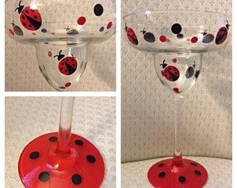 Ladybug Margarita Glass - Personalized Margarita - Custom Margarita - Sorority Ladybug