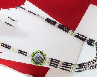 free shipping f-31  stunning seraphinite + black onyx + peridot  .925  silver beaded opera necklace 98 gram