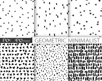 Minimalist digital paper primitive hand drawn geomrtric minimal scrapbooking paper doodle black white scribble pattern minimalistic geometry