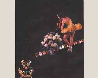 Vogue magazine ad for Lucien perfume, ballerina featured, Opening Night perfume, matted - Beauty0270