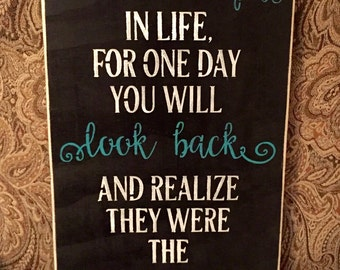 Enjoy The Little Things Inspirational Quote Black Teal Distressed Subway Wood Sign