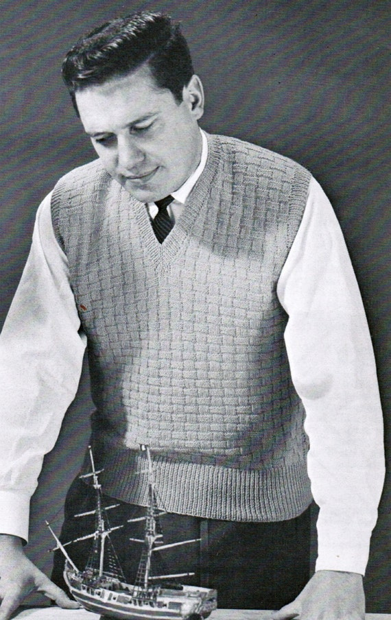 Basket Weave Vest Pattern : Items similar to basketweave men s vest knitting pattern