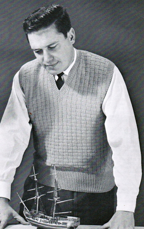 Basket Weave Vest Pattern : Basketweave men s vest knitting pattern pdf sizes