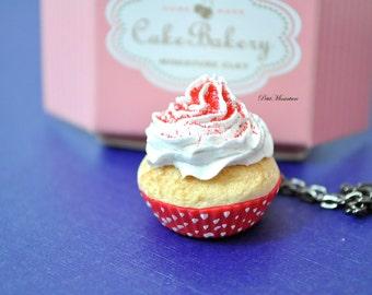 Cupcake necklace chocolate whipped cream with sugar rainbow, jewelery miniature-Jewelry-Necklace Fimo-Bijoux