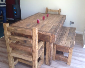 Rustic handmade dining table, 2 throne chairs with 2 benches. Made from old reclaimed hardwood