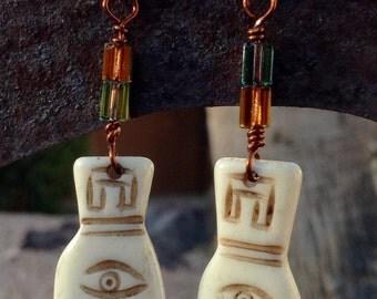 Carved Bone Chamsa Earrings