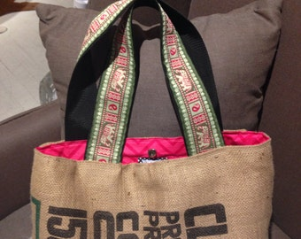 Upcycled Coffee Sack Tote with Elephant Trim Handles