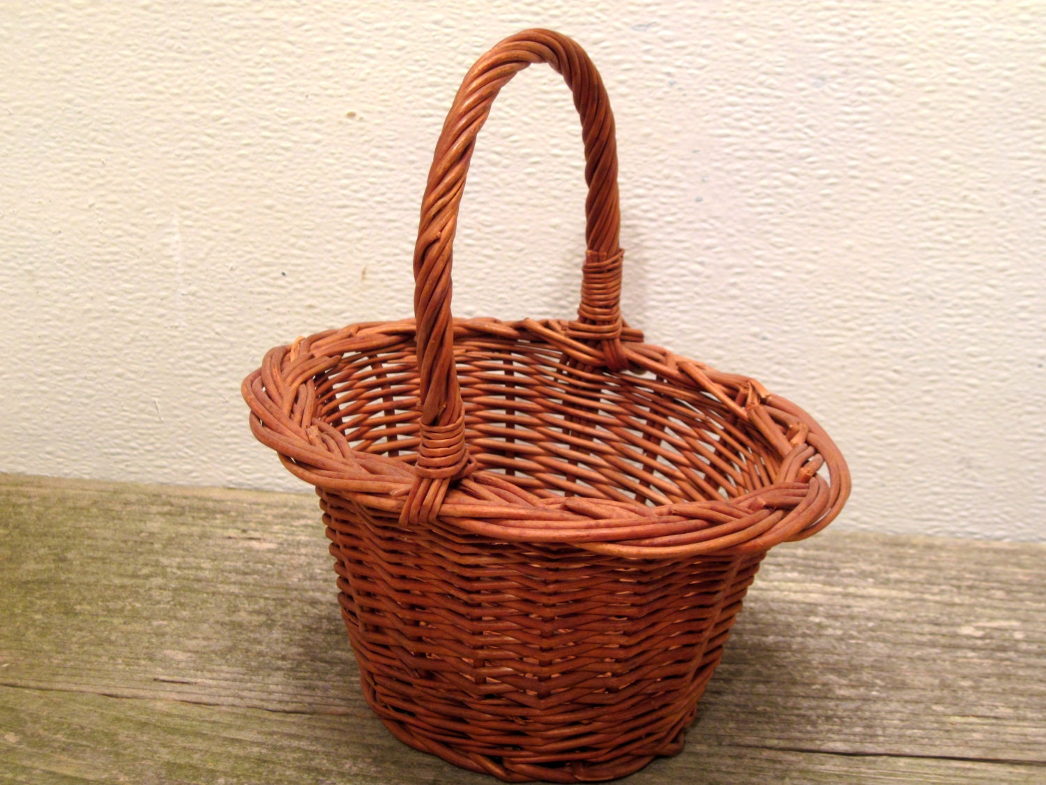 Tiny Wicker Basket With Handle : Small handle woven wicker basket bathroom decor desk