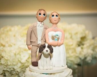 Custom Wedding Cake Topper with Medium Sized dog included