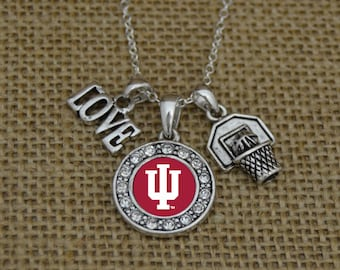 Indiana Hoosiers 3 Charm Basketball Necklace