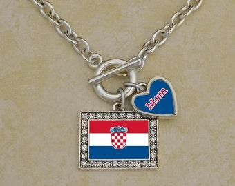 Custom Family Croatia Necklace - FLAGHR54590