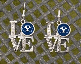 """BYU Cougars """"LOVE"""" Earrings"""