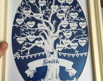 Customised Family Tree - Hand Cut Framed Paper Cut
