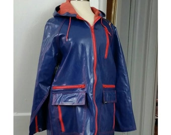 80s Members Only Rainjacket with Hood M
