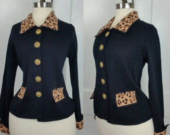 60s Leopard Print Black Pocketed Sweater M