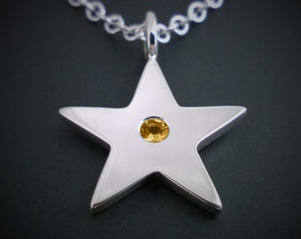 Citrine Star Necklace Pendant In Sterling Silver - Sterling Silver Star Necklace, Sterling Silver Star Pendant, Sterling Star Necklace