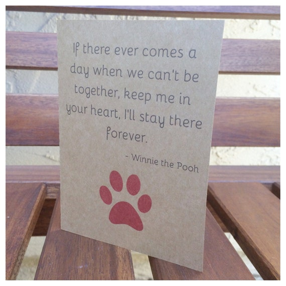 Sympathy Dog Quotes: Pet Loss Sympathy Card Winnie The Pooh Quote