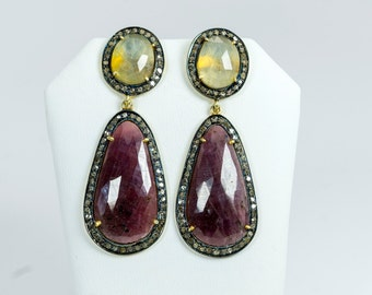 Red and Yellow Sapphire and Pave Diamond Earrings