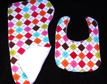 Argyle Baby Gift Set Bib, Burp Cloth