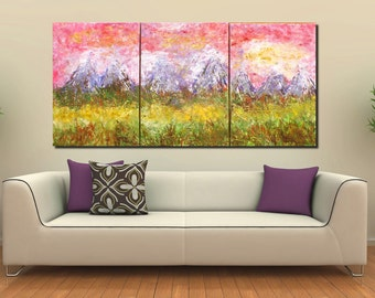 XXL Original contempoary modern triptych painting landscape mountain sunset