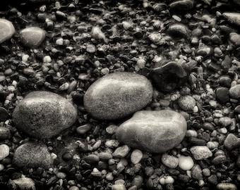 Beach Photography, Fine Art Black and White Photography, Landscape Photography, Rocks, Texture, Home Decor, Wall Art, Monochrome, Ocean, Zen